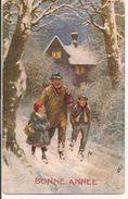 L100C080 -  Bonne Année -Père Et Ses Enfants Dans Un Paysage De Neige - Oilette N°9879 - New Year