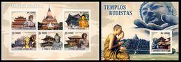 S. TOME & PRINCIPE 2009 - Buddhist Temples - Mi 4186-90 + B719 - Buddhism