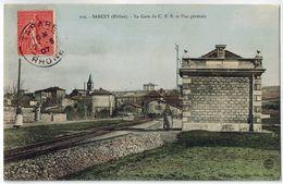 CPA SARCEY (69): La Gare Du C.F.B. Et Vue Générale - Autres Communes