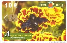 TARJETA  DE ESPAÑA DE LA ABEJA AZUL DE LA MADERA FAUNA IBERICA EN PERFECTO ESTADO - Spagna