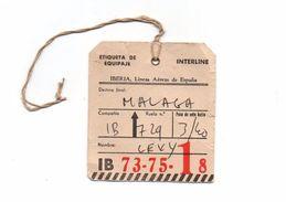 Etiqueta De Equipaje Iberia Interline Malaga IB 73-75-18 Madrid IB 729 Avec Ficelle D'attache - Étiquettes à Bagages