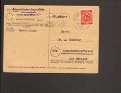 Alli.Bes.12 Pfg.Ziffer Auf Postkarte A.Braunschweig V.1946, Abs.Österreichisches Zentralbüro - Gemeinschaftsausgaben