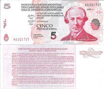 LECOP BANCO DE LA NACION ARGENTINA FIDUCIARIO DEL FONDO PARA EL DESARROLLO PROVINCIAL  5 PESOS JUAN BAUTISTA  ALBERDI - Argentina
