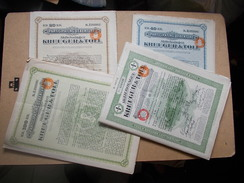 """LOT ACTIONS KREUGER And TOLL 20 40 100 Kr De 1927-29 ET LA RARE """"B"""" De 100Kr 1926 IVAR KREUGER JEAN MONNET BOURSE KRACH - Industrie"""