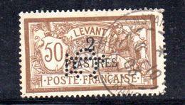 T636 - FRANCIA LEVANTE 1902 , Yvert  N. 20  Usato . PERFIN PERFINS - Oblitérés