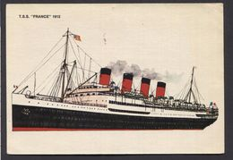 TSS France 1912 (Compagnie Generale Transatlantique  +1975 ) -  Used  - See The 2  Scans For Condition( Originaal) - Dampfer