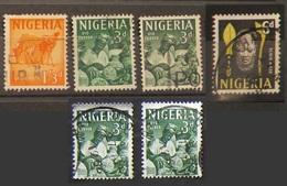 Nigeria 1961 Lot Definitives Camel Oyo Carver Benin Mask - Nigeria (1961-...)