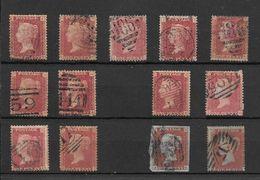 GRANDE BRETAGNE VICTORIA GRANDES LETTRES AUX QUATRE COINS DENTELES 14 LOTE LOT PLUS DE 150 EUROS COTATION YVERT TELLIER - 1840-1901 (Victoria)