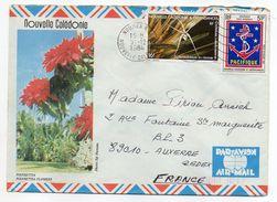 Nlle Calédonie--1984--Lettre Nouméa  Pour Auxerre-89- Tp Env Illustrée (fleurs)  Recto-verso - Briefe U. Dokumente
