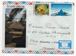 Nlle Calédonie--1985--Lettre Nouméa  Pour Auxerre-89- Tp Env Illustrée (case Mélanésienne )  Recto-verso - Briefe U. Dokumente