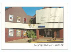 CPM SAINT JUST EN CHAUSSEE - 60 - Entrée Du Cinéma Jeanne Moreau - Ed Combier Voyagée Timbre 1998 Coupe Du Monde Footbal - Cinema