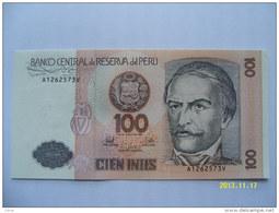 BANCONOTE   PERU'  100  INTIS   FIOR DI STAMPA - Perú