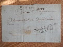 Armée Des Cotes Sur Lettre - Marcophilie (Lettres)