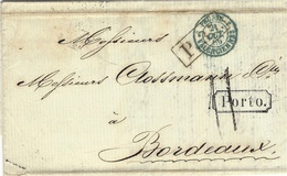 1857- Letter From St Petersbourg    Rating 11 D. Entrance B Valenciennes To Bordeaux+ PORTO Framed - - 1857-1916 Imperium