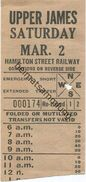 Kanada - Canada - HSR - Hamilton Street Railway - Upper James - Fahrschein - Chemins De Fer