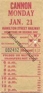 Kanada - Canada - HSR - Hamilton Street Railway - Cannon - Fahrschein - Chemins De Fer