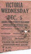 Kanada - Canada - HSR - Hamilton Street Railway - Victoria - Fahrschein - Chemins De Fer