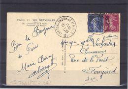 1er Jour De Tarif, Carte Postale Moins De 5 Mots, Tarif à 30 C., 12 Juillet 1937. - Tarifs Postaux