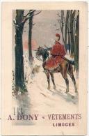 ---- 87 ----  Carte Publicitaire A.DONY Vétements LIMOGES - Illustrateur L Vallette - Soldat à Cheval - - Illustrateurs & Photographes