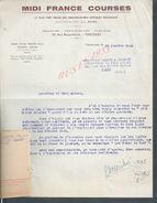 LETTRE MIDI FRANCE COURSES ( HIPPIQUE ) À TOULOUSE 1943 : - Equitation