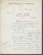 LETTRE AVEC TAMPON SOCIETE HIPPIQUE DE CASTILLONÈS 1948 : - Equitation