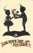 Illustration Signée Ost - Zum Neuen Jahr Viel Glück - Voeux - Enfants Tyroliens, Ombre Chinoise, Silhouette - Scherenschnitt - Silhouette