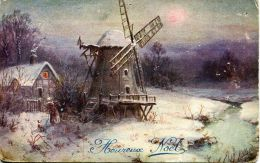 N°55591 -cpa Heureux Noël -moulin- - Windmolens