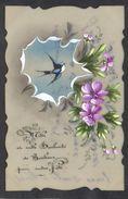 CPA FANTAISIE CELLULOID CELLULOIDE DENTELEE - Art Nouveau Art Déco - Peinte à La Main Oiseau Hirondelle Bonne Fête #490 - Autres