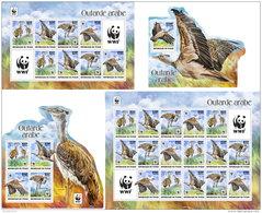 CHAD 2017 ** WWF Outarde Arabe Birds Vögel Oiseaux S/S+M/S I-III - OFFICIAL ISSUE - DH1736 - Oiseaux