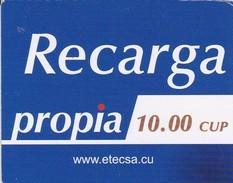 TARJETA DE CUBA DE RECARGA DE PROPIA DE 10 CUP (ETECSA) - Cuba