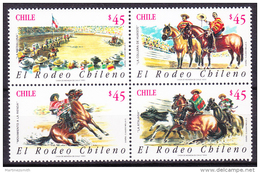 Chile - Chili 1990 Yvert 999- 1002, Chilean Rodeo - MNH - Chile