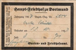 Carte De Membre Du 13.10.1927 - Haupt Friedhof Zu Dortmund - Dortmund