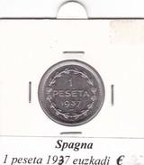 SPAGNA   1 PESETA   ANNO 1937 Euzkadi  COME DA FOTO - [ 2] 1931-1939 : Repubblica