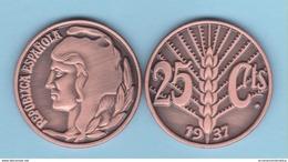 VERY RARE!!! SPAIN / 2º REPUBLIC(1.931-1.939) 25 Céntimos 1.937 Tipo 3-ESPIGA  Aledon 195 PM2 Réplica SC/UNC T-DL-12.094 - [2] 1931-1939: Zweite Republik