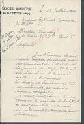 LETTRE SOCIETE HIPPIQUE DE SAINT CYPRIEN 1949 : - Equitation
