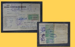 LINIERS Permis Chasse JABOIN HIlaire, Timbres Fiscaux Forte Cote1956 à 60 ; Ref 190 VP 34 - Revenue Stamps