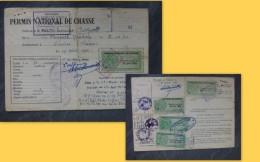 LINIERS Permis Chasse Thomas Jacques, Timbres Fiscaux Forte Cote1956 à 60 ; Ref 192 VP 34 - Revenue Stamps