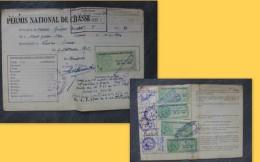 LINIERS Permis Chasse Guibert Adam, Timbres Fiscaux Forte Cote1956 à 60 ; Ref 194 VP 34 - Fiscaux