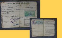 LINIERS Permis Chasse Mai Marcel, Timbres Fiscaux Forte Cote1959 Et 60 ; Ref 193 VP 34 - Revenue Stamps