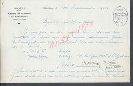 LETTRE SOCIETE HIPPIQUE DE CHERBOURG 1949 : - Equitation
