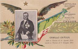 CARTOLINA RICORDO NON VIAGGIATA PRIMO CENTENARIO DELLA NASCITA DI CAMILLO CAVOUR _ 1910 Rara - Eventi
