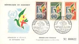 Timbre - Afrique - Bénin - Dahomey - PREMIER JOUR - N° 000622 - Admission à L´ONU -COTONOU - 1961 - - Bénin – Dahomey (1960-...)