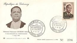 Timbre - Afrique - Bénin - Dahomey - PREMIER JOUR - N° 2796 - 1er An. De L´Indépendance - PORTO-NOVO - 1961 - - Bénin – Dahomey (1960-...)