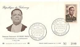 Timbre - Afrique - Bénin - Dahomey - PREMIER JOUR - N° 2800 - 1er An. De L´Indépendance - PORTO-NOVO - 1961 - - Bénin – Dahomey (1960-...)
