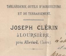 OR = LOURSIERE GC ALLEVARD Isère Sur LAC CLERIN, Taillanderie, Outils D'Agriculture Et De Terrassement. - 1849-1876: Période Classique