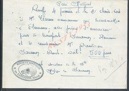 LETTRE AVEC TAMPON SOCIETE HIPPIQUE DE SARRAMON 1950 : - Equitation