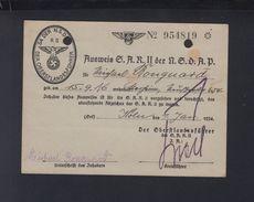 Dt. Reich Ausweis SAR II Der NSDAP 1934 - Historische Dokumente
