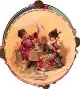 3 Trade Cards Chromos Music Tambourin  Die Cut C1890  Pub.choc.Magniez-Baussart  Amiens - Sonstige