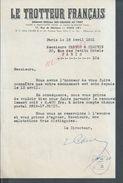 LETTRE LE TROTTEUR FRANÇAIS PARIS RUE DE MONTYON 1951 : - Equitation