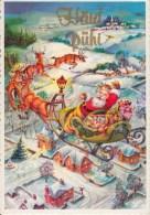 Christmas Greeting Card - Santa Claus - Reindeer - Town - Estonia - Used - Altri